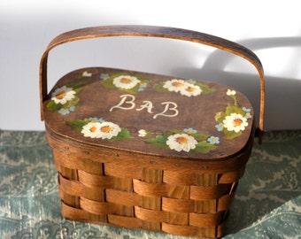 Putney Purse 70s Basketville Woven Wood Hand Bag