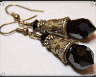 Siberian Nights...Handmade Jewelry Earrings Boho Beaded Crystal Jet Black Antique Brass Sparkly Lightweight