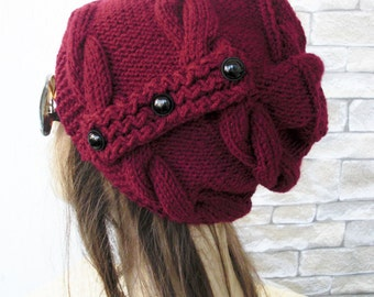 Slouchy Hat  Winter Hat Knit hat -  Womens Hat  Burgundy Marsala red Slouchy Beanie mothers day from daughter Winter accessories fashion