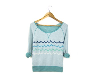 Waves Sweatshirt - French Terry Inside Out Scoop Neck Pullover Sweater in Retro Heather Teal Ocean Blue - Women's Size XS-XL