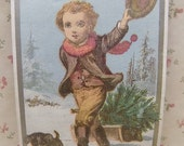 Little Boy with Puppy Dog-Xmas Tree-Snow-Milliner Victorian Trade Card-MA-1800's
