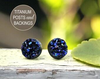 Faux Druzy Stud Titanium Earrings - Black, Purple and Blue Sparkles, 12mm Glitter on Titanium Posts