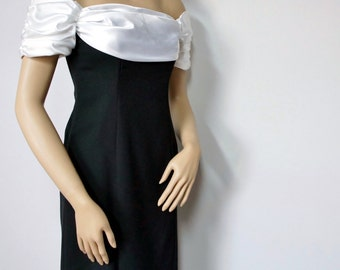 Vintage Black and White Dress Formal Evening Dress Long Satin Wiggle Dress 1980's Fitted Size 4
