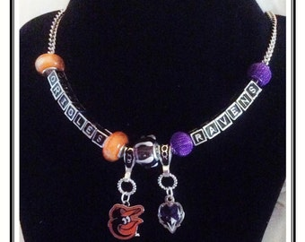 COMBO Baltimore ORIOLES and Baltimore Ravens inspired Jewelry bracelets handmade COMBO Necklace
