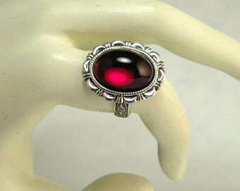 Finger Ring Ruby Red Glass Cabochon Handmade Ornate Gothic Victorian Style Jewelry Adjustable Ring Size 6 to 8 One Of a Kind