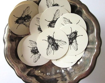Fly Insect Tags Round Paper Gift Tags Set of 10