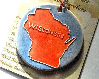 ON WISCONSIN! Ornament handmade ceramic in BADGER red on blue, perfect for uw student, alumni, friends, & family in and out of state