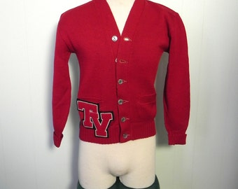 Vintage Mens 30s 40s Cardigan - 1940s sweater dark Red Letterman Sweater with chenille letters S M - on sale