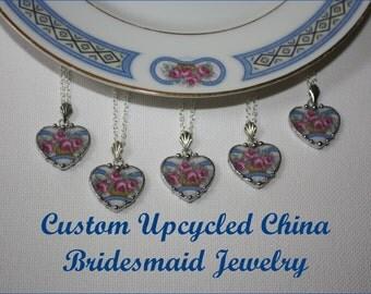 Custom Bridesmaid Jewelry - 5 Broken China Heart Pendant Necklaces