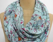 Brid Infinity Scarf Bird Shawl Animal Printed Scarf Circle scarf, Scarves, Mother's Day Gift Ideas For Her