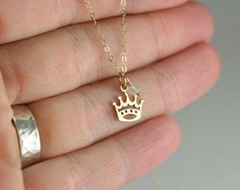 Gold Princess Necklace - Disney Lover Gift - Gold Princess Jewelry - Gold Queen Necklace - Girl Gold Necklace Gift -Girl Birthstone Necklace