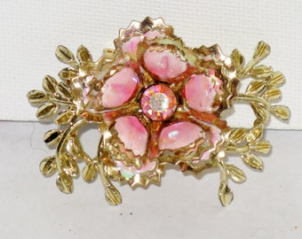 Vintage Pink Enamel Clear Rhinestone Floral Brooch Pin (B-1-2)