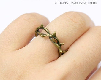 4Pcs 17mm Bronze Rings With Branch Design  (ZZ124)