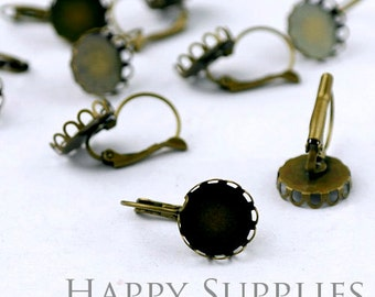 10pcs 12mm Antique Bronze Earring Hoop with Crown Round Pad (06173)