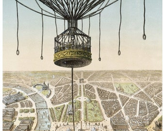antique french illustration air balloon over the city of Paris France DIGITAL DOWNLOAD