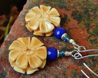 Blue Daisy Earrings - One-of-a-Kind w Carved Bone Flowers, Sapphire Jade, Crystals & Handmade Long Sterling Ear Wires / Help Kids w Autism