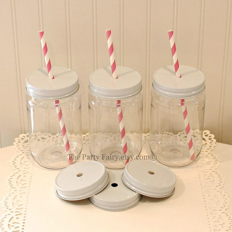 Plastic Mason Jars 10 Plastic Mason Jars W/ Metal Lid With