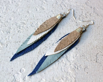 Feather Leather Earrings in Shades of Metallic and Blue. Upcycled Leather Jewelry