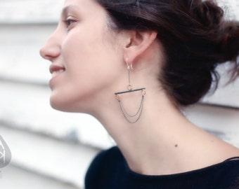Ultra Slim Dark Minimalist Earrings // black metal chain, Urban, Elegant, Simple statement, clean lines
