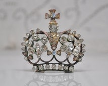 Royal Crown Pendant for Assemblage or Reconstructed Jewelry Crystal Clear Rhinestones