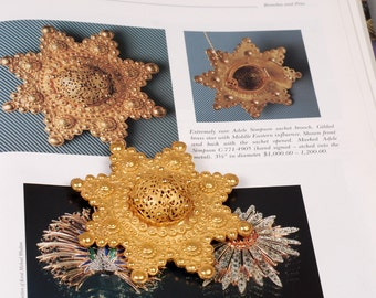 Adele Simpson Brooch - Adele Simpson Pin - Gold Star Brooch - Gold Star Pin - Satchet Brooch - Book Piece - Adele Simpson Jewelry