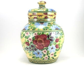 Large yellow ceramic covered jar -  handmade porcelain lidded jar with flowers and red rose