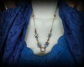 Dark and Mysterious Labradorite and Copper Swirl Necklace with FREE Matching Earrings