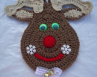 Free shipping Holiday Christmas Crochet Potholder Deer Wall Decor