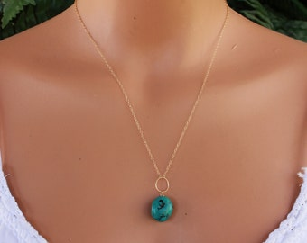 Natural Turquoise Necklace, Gold, December Birthstone, Chunky Turquoise, Dainty Necklace, Layering Necklace, Minimalist, Layered