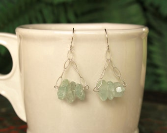 Aquamarine Earrings, Simple Earrings, Aqua Gemstone Earrings, March Birthstone, Sterling Silver Dangle Earrings, Drop, Chandelier Aquamarine