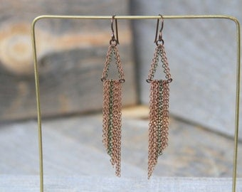 CHAIN LOVE. Long and lovely copper and brass chain earrings. 137