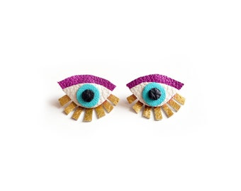 Eye Ear Jacket Earring, Seeing Eye Studs, Geometric Post Stud Earrings, Statement Earrings, Magenta and Gold Earrings, Statement Eye Jewelry