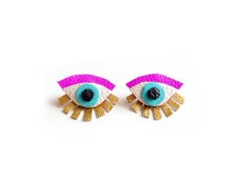 Neon Eye Ear Jacket Earring, Seeing Eye Geometric Post Stud Earrings, Seeing Eye Studs, Hot Pink and Gold Earrings, Statement Eye Jewelry