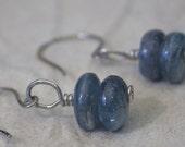 Kyanite Earrings, Woman's Earrings, Dangle Earrings, Blue Earrings, Stone Earrings, Handmade Ear Wires, Unique Earrings, Fun Earrings,  E68