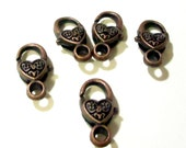 Copper Lobster Clasp - Heart Shaped Lobster Clasp - 17mmx9mm - Metal Jewelry Findings - Lock Clasp (12) Pcs - Bulk Beads