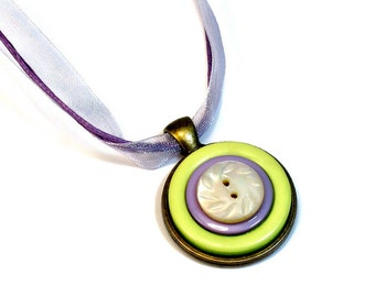 Lavender Purple Button Necklace, Button Pendant Necklaces, Repurposed Buttons, Upcycled, Gift for Her