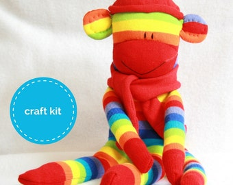 Sewing Pattern, Sock Monkey Kit - Red Rainbow Stripes, Craft Kit, Stuffed toys