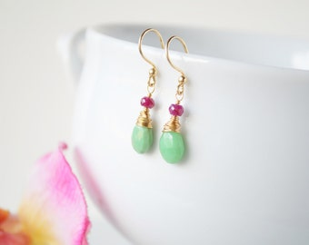 Chrysoprase & Ruby - Gold Wrapped Teardrop Earrings