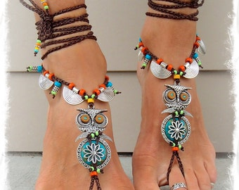Boho OWL BAREFOOT Sandals cute Owl foot jewelry Turquoise Cowgirl Toe Thongs Statement foot accessory Hippie crochet Toe Anklets GPyoga