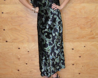 Vintage 90's Crushed Velvet Green Scrolled Print Holiday Maxi Dress SZ S/M