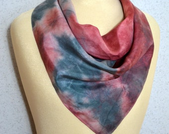 Abstract Tie Dyed Pink and Grey Night Sky Constellation Vintage Square Scarf