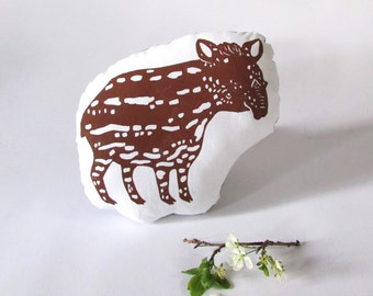 Plush Tapir Pillow. Hand Woodblock Printed. Choose Any Color. Made to Order.