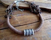 Linen Necklace, Antique Silver Tube Bead, Brown Linen Cord, Glass Beads