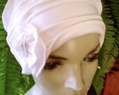 Chemo Hat White Soft hat Chemotherapy hat Flapper Wedding Cloche Beanie With white lFlower