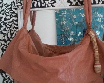 80s STUDIO 26--My Big Fat Boho Bag--Huge Stone-and-Wooden Beaded Zipper Pull--Padded Straps