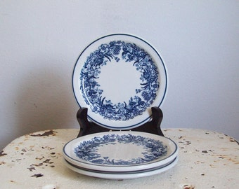 "Restaurant ware plate Shenango 1930s cobalt blue flowers on white 5 1/2"" bread butter plate 3 available"