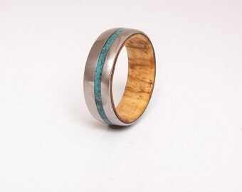 turquoise mens ring with olive wood ring wedding ring