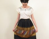 Vintage 1950s Woven Skirt in Black and Gold / 50s Peasant Skirt / Small