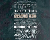 Here's to the Crazy Ones - Word Art Print - 8x20 Canvas -  Apple Inc. quote Steve Jobs Gallery Mount - Gallery Wrapped