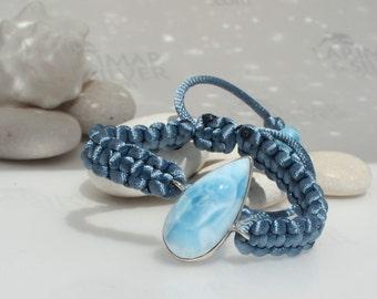 Larimar bracelet macrame by Larimarandsilver, Cool Siren -  topaz blue Larimar, frosted, pastel blue, sky blue, handmade adjustable bracelet